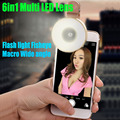 20X 6in1 Multi LED Lens Clip-on Flash light Fisheye Macro Wide angle Camera Lens for iPhone 5 6 plus 6S Samsung Smart Phones LS1