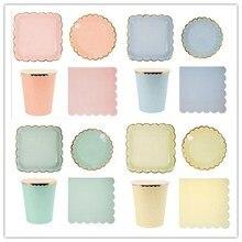 8 Cái/lốc Màu Kẹo Đĩa Giấy Sinh Nhật Món Ăn Pastel Đĩa Giấy Vàng Cho Bé Cưới Trang Trí Bộ Đồ Ăn