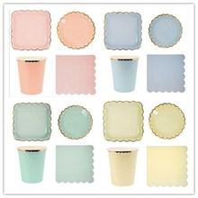 8 ピース/ロットキャンディーカラー紙皿の誕生日パーティー料理パステルプレート金箔結婚式の装飾食器