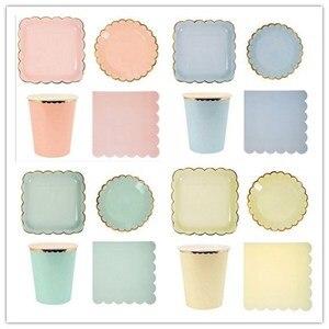 Image 1 - Assiettes en papier couleur bonbon, assiettes en papier Pastel avec feuille dor pour anniversaire, vaisselle de décoration de réception pour bébé de mariage 8 pièces/lot