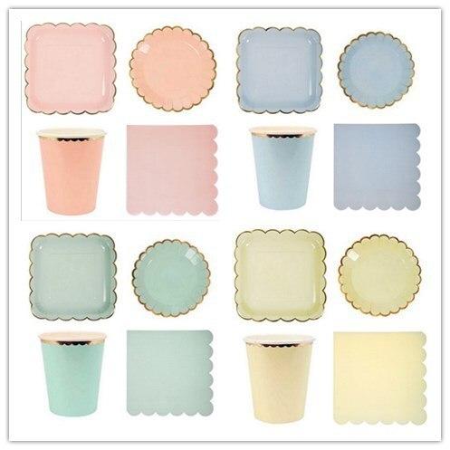 Assiettes en papier couleur bonbon, assiettes en papier Pastel avec feuille dor pour anniversaire, vaisselle de décoration de réception pour bébé de mariage 8 pièces/lot