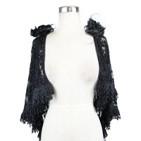 Punk Women Wedding Lace Cappa Elegant Black Shawl Evening Capes Temperament Cardigan Capes