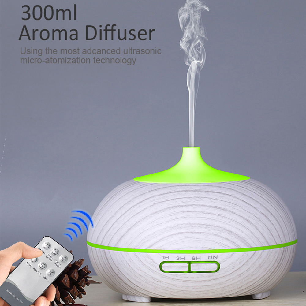 300ML Remote Control Wood Grain Essential Oil Diffuser Aroma Diffuser Aromatherapy Ultrasonic Cool Mist Humidifier For Home
