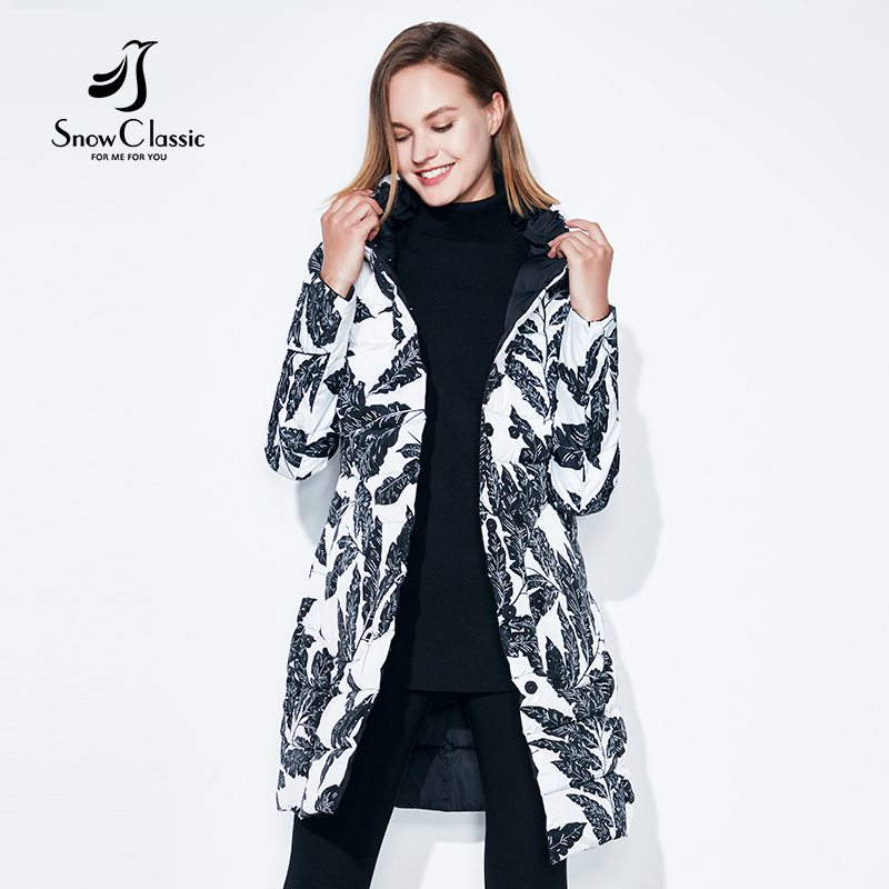 Autumn Jacket Womens Printed Widespread Double Long Windbreaker Thin Cotton Pattern Jacket Snow Classic 2