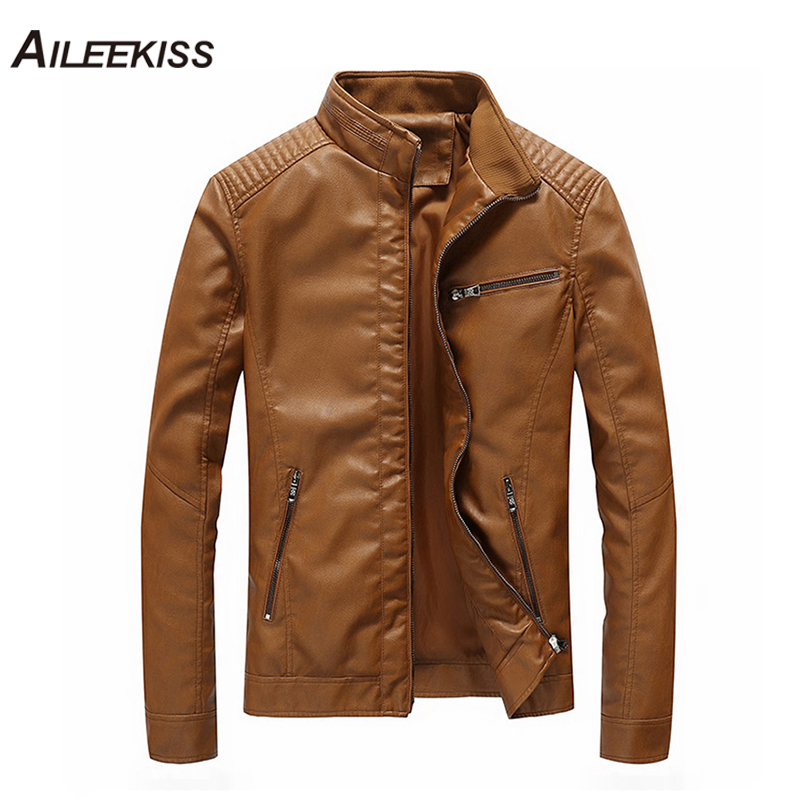 Autumn Winter Motorcycle Leather Jackets M 5XL Men's Clothing Men Leather Jackets Male Business Casual Coats Bomber Tops XT404