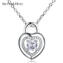 SILVERHOO Lady Women 925 Sterling Silver Hollow Heart Pendant Necklace with Charming Cubic Zirconia Wedding Party Fashion Gift