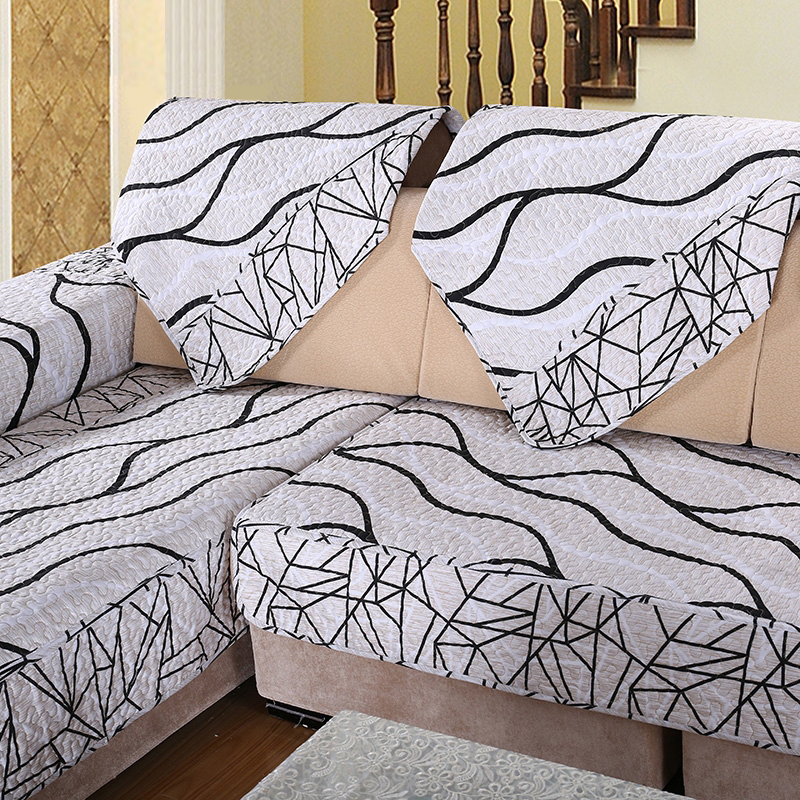 1pcs Sofa Cover Towel Black And White Striped Cover For