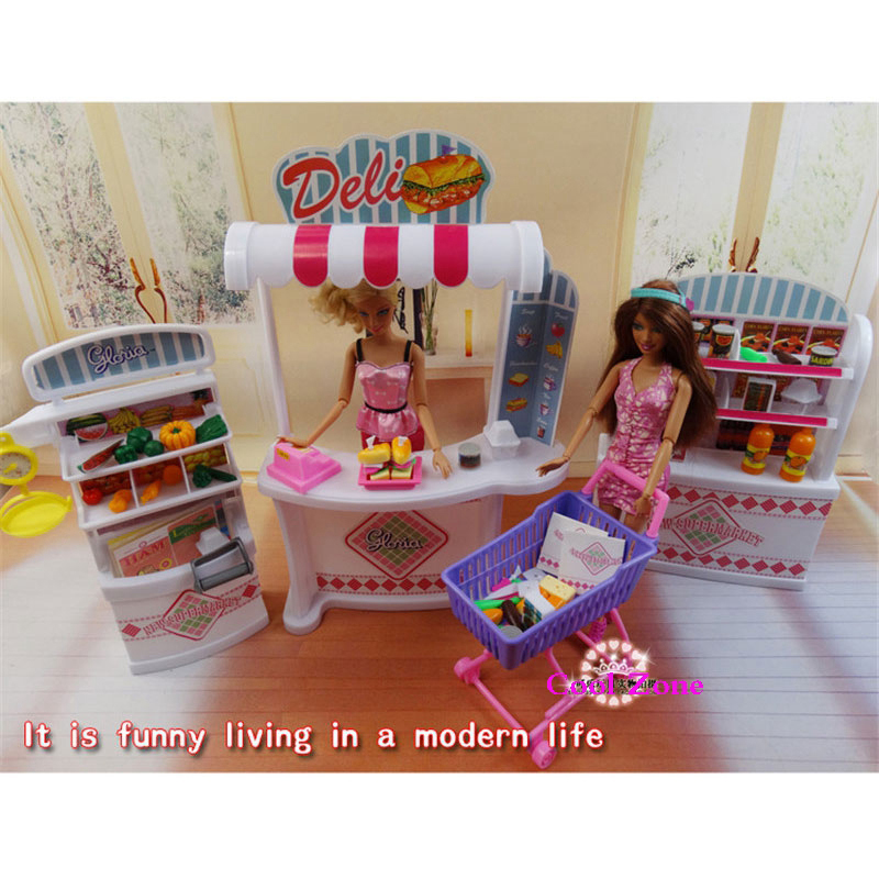 Miniature Furniture Supermarket for Barbie Doll House Pretend Play Toys for Girl Free Shipping  play toys грабли 46 см