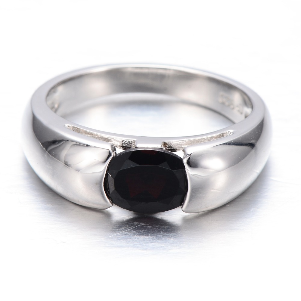 HUTANG 1.4ct Natural Black Garnet Solid 925 Sterling Silver Ring Gemstone Fine Jewelry Womens Xmas Gift Black Friday