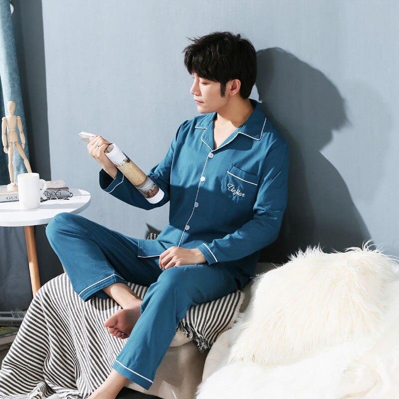 Underwear & Sleepwears Yarn Weave 100% Cotton Pajama Set For Men Comfy Sleepwear Pajamas Mens Sexy Modern Style Soft Cozy Plus Size Nightgown Pyjamas Men's Pajama Sets