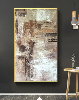 Decorative picture Hand painted canvas oil paintings elegant painting brown vertical wall decor custom abstract for living room