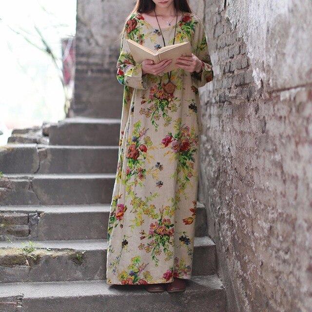 Vintage Maxi O Langarm Neck Floral Kleid Frauen Plus Mode Taschen UzMGqSVp