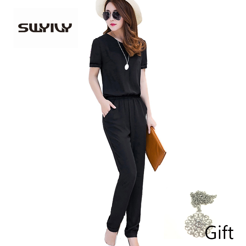 Women Jumpsuits Black Large Size 4XL Short Sleeve Summer ...