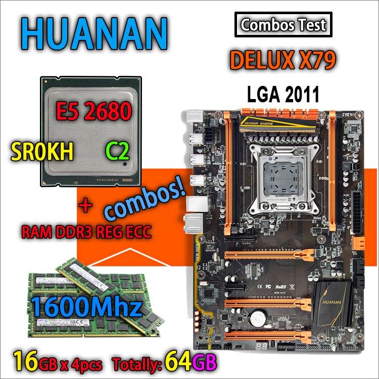 HUANAN golden Deluxe version X79 gaming motherboard LGA 2011 ATX combos E5 2680 C2 SR0KH 4 x 16G 1600Mhz 64GB DDR3 RECC Memory deluxe edition huanan x79 lga2011 motherboard cpu ram combos xeon e5 1650 c2 ram 16g 4 4g ddr3 1333mhz recc gift cooler