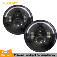 Auxmart 7 Round LED Headlight Hi/Low Beam with Amber White Halo Angle Eye For Jeep Hummer Harley Davidson 4x4 off road Trunk