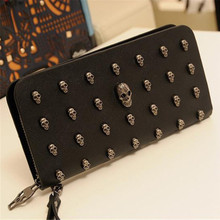 лучшая цена 2019 New Zipper Card Holder Punk Wallets Men Leather Bag Skull Wallet Personality Clutch Bags Quality Rivets PU Leather Purse