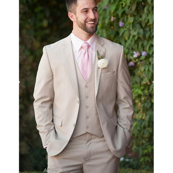 Custom Made Champagne Wedding Suits For Men Slim Fit 3 Piece Bridegroom Groom Tuxedos Suits Casual Blazer (Jacket+Pants+Vest)