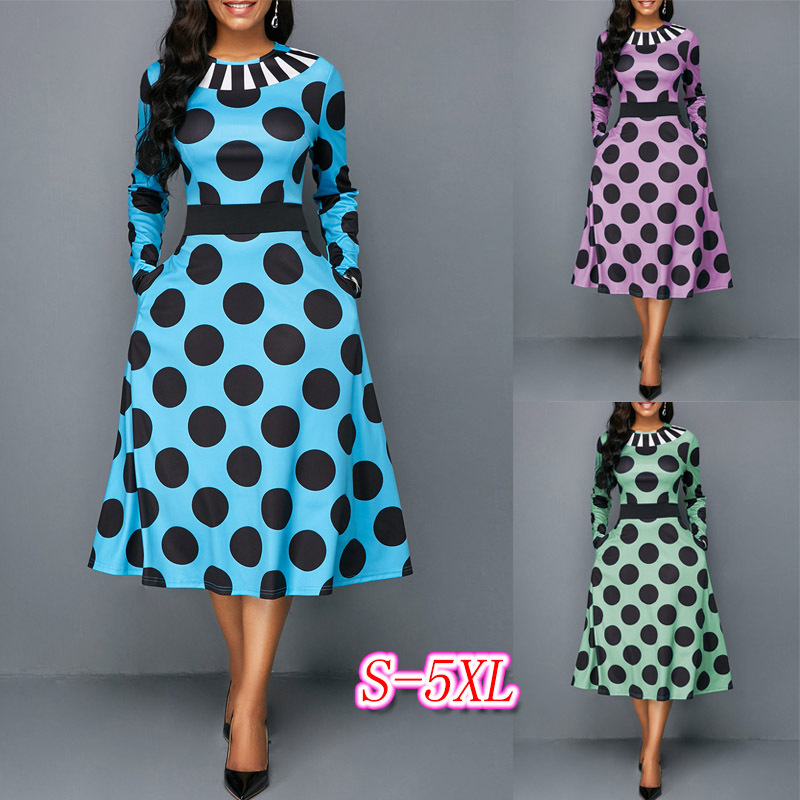 2019 Plus Size New Style African Women Clothing Dashiki Fashion Print Elastic Cloth Long Sleeve Dress