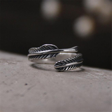 Retro High-quality 925 Sterling Silver Jewelry Thai Silver Female Personality Feathers Arrow Open Ring 4.60mm 2.10G