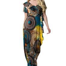 Yfashion Women Large Size Muslim Short Sleeved Flounce Fashion Printing Dress