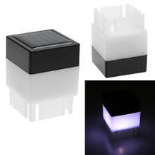 Waterproof Solar Powered LED Light Fence Post Pool Square Light For Outdoor Boundary Pool Garden Decor Lamp White Lights 5*5*7cm