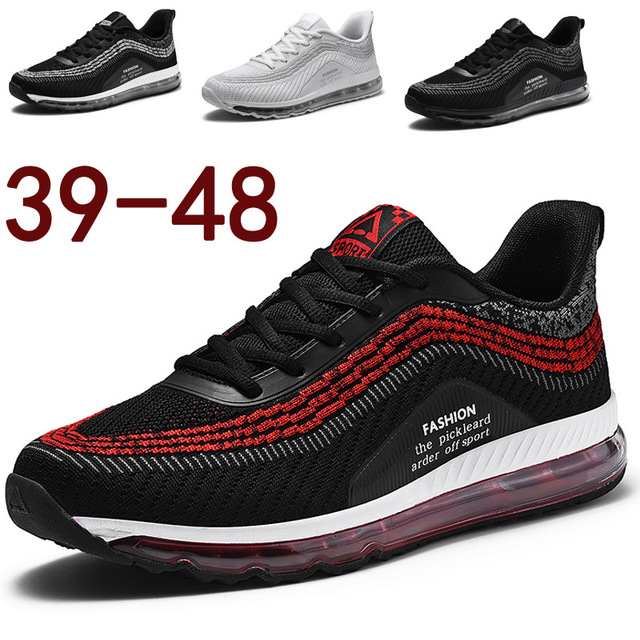 Full palm air cushion Travel shoes men damping Non slip light Sports casual shoes Flying weaving