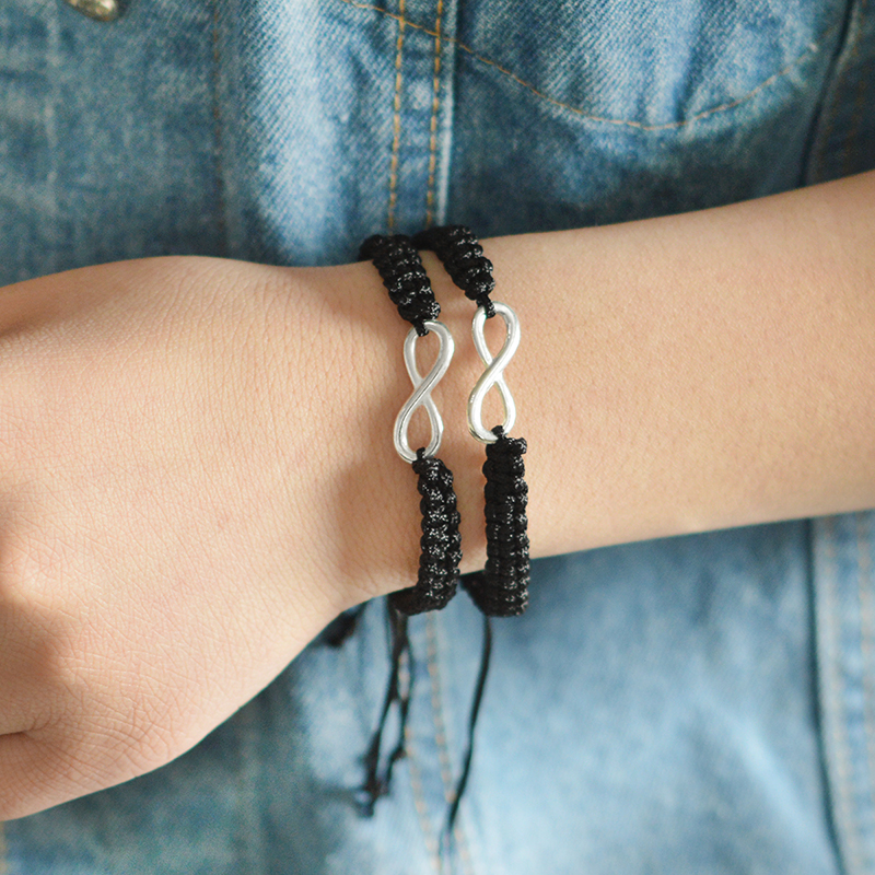 2pcs Infinity Braided kit bracelet Set Friendship Bracelet Set friendly Love Couples Bracelet Set Infinity Fashion Jewelry