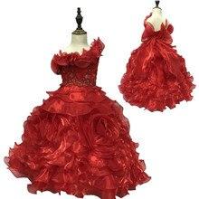 Вечерние платья на одно плечо для девочек, дизайн, Детские вечерние платья, красные детские платья с оборками из органзы