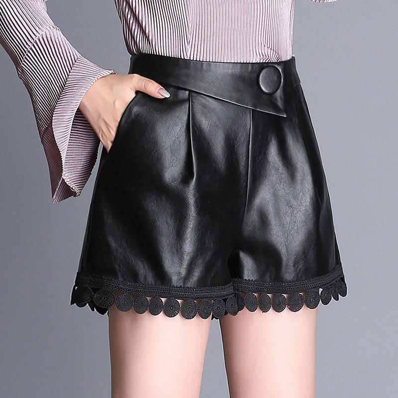 Winter PU leather Lace Shorts for Women 2018 New High Waist A-Line Sexy Shorts Female Fashion Elegant PU Short Pants Plus Size 4