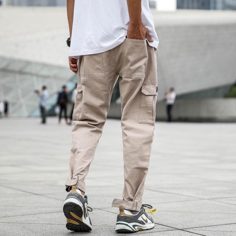 Japanese Style Fashion Joggers Pants Men Loose Elastic Waist Big Pocket Cargo Pants Khaki Color Slack Bottom Hip Hop Jeans Men in Jeans from Men 39 s Clothing