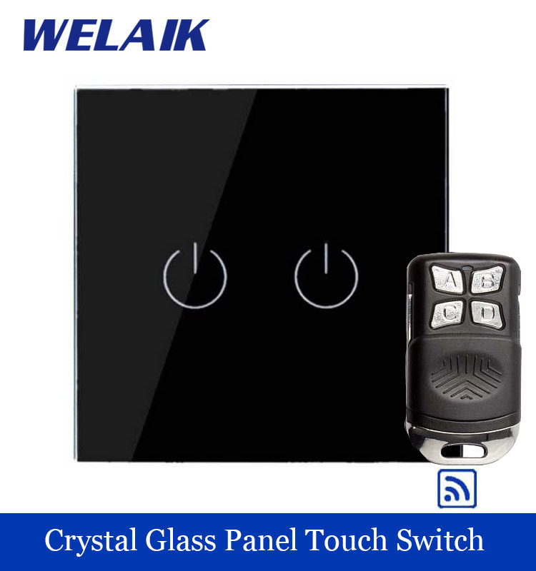 WELAIK Glass Panel Switch black Wall Switch EU remote control Touch Switch Screen Light Switch 2gang1way AC110~250V A1923BR01 smart home eu touch switch wireless remote control wall touch switch 3 gang 1 way white crystal glass panel waterproof power