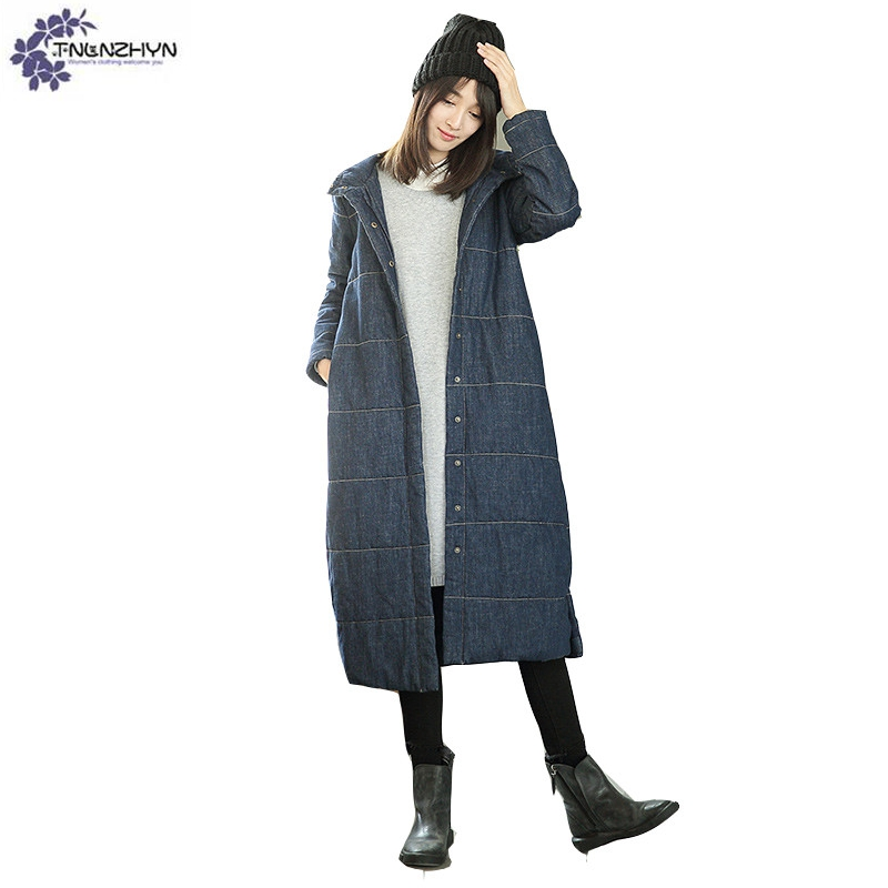 TNLNZHYN Women clothing warm Cotton coat winter new fashion Hooded High end large size long casual female Cotton Outerwear QQ608