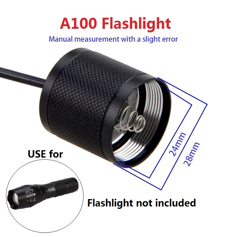 2 Mode switch Black Remote Pressure Switch Controller for A100 Flashlight Torch Light Rat Tail Switch for 24mm