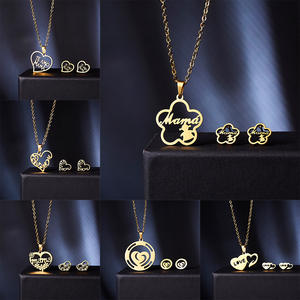 Belleper Earrings-Sets Necklace Gold-Chain Birthday-Party-Gift Stainless-Steel Pendant