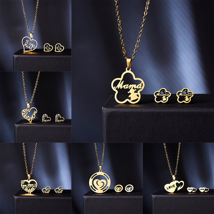 Belleper <font><b>Stainless</b></font> <font><b>Steel</b></font> Pendant Necklace Earrings <font><b>Sets</b></font> Gold Chain <font><b>Jewelry</b></font> <font><b>Set</b></font> Love Heart Mama Mother's Day Birthday Party Gift image
