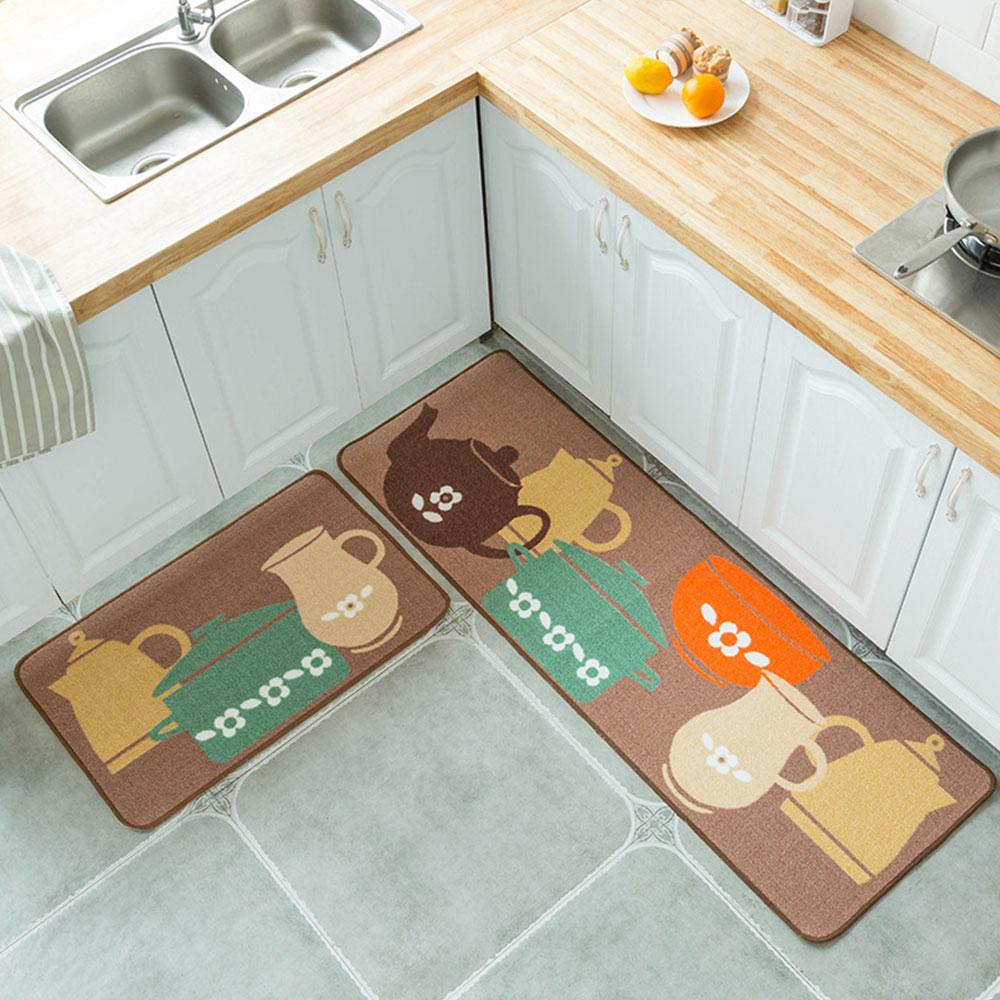2 шт. 1 комплект ковер из полиэстера Нескользящая кухня спальня удобный мягкий мультфильм Tapete дверные стулья гостиная напольный коврик - Цвет: Tea set
