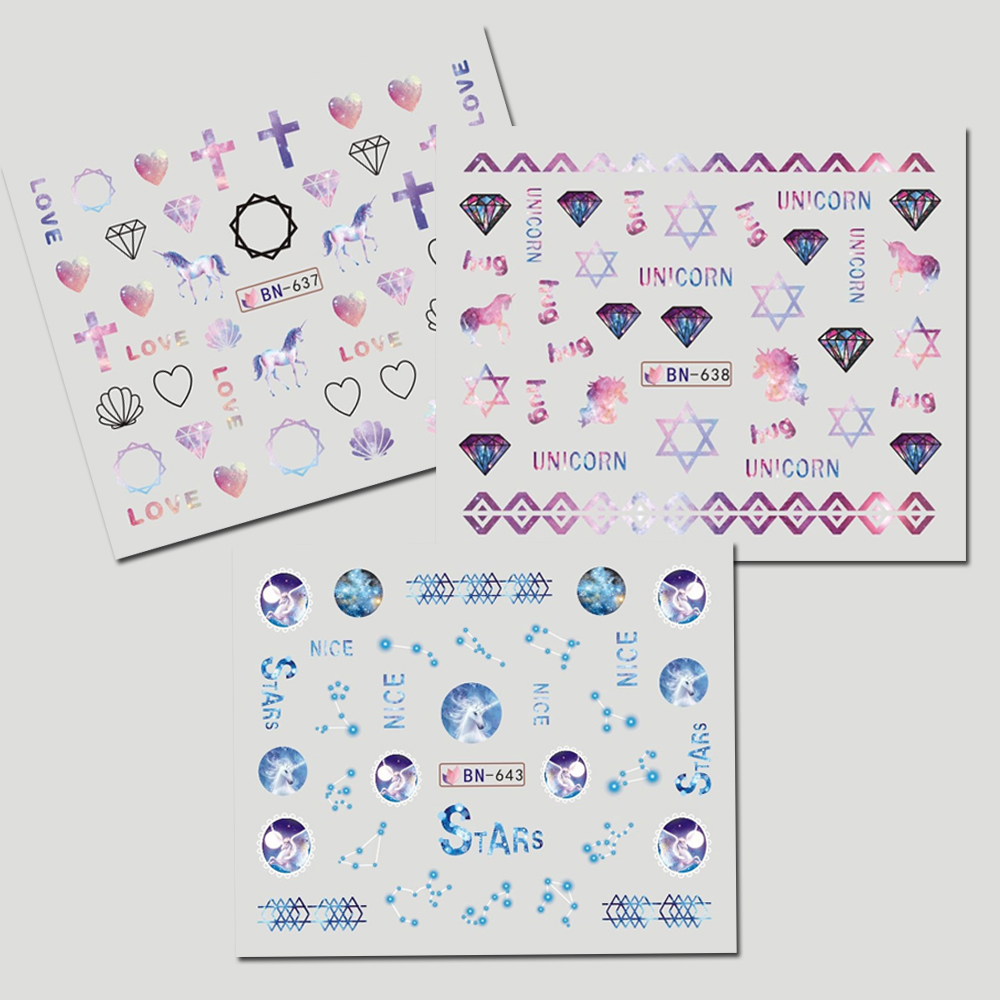 12 Designs Einhorn/Diamant Mixed Nagel abziehbilder Regenbogen Nail ...