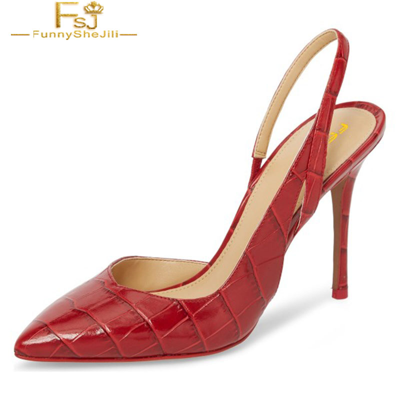 Women Shoes Ladies Pump Red Croc Pointy Toe Stiletto Heel Slingback  2020 Spring Autumn Plus Size Shoes41 42 43