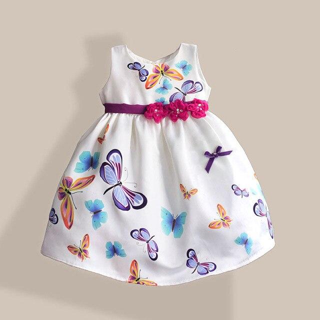 Бабочка Печатных Платье Девушки Три Цветы пояса Белый Дети Платье для Партии Новый Год Детские Платья Размер 1-6 Т