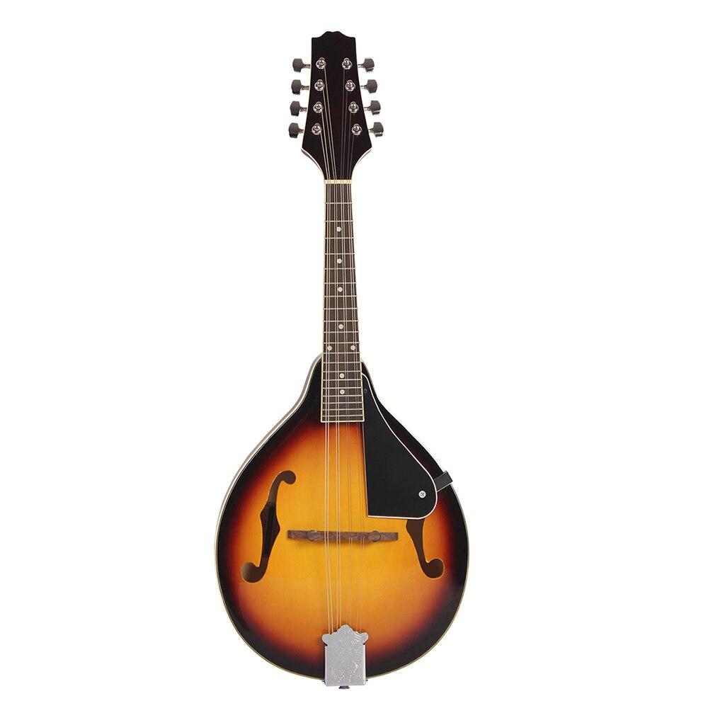 8-String Basswood Sunburst Mandolin Musical Instrument With Rosewood Steel String Mandolin Stringed Instrument Adjustable Bridge
