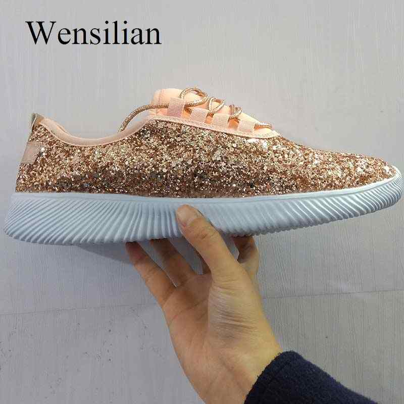 6c8973f49875 ... Vulcanized Shoes Woman Sneakers Trainers Sequined Glitter White  Sneakers Sparkly Ladies Casual Shoes Bling Zapatillas Mujer
