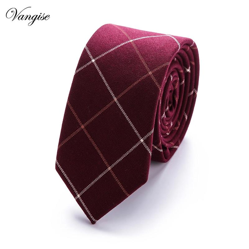Men Suit Accessories Brand Slim Man Ties For Men 100%cotton Necktie Plaid 7.5 Cm Width For Office Men Business Or Wedding Party