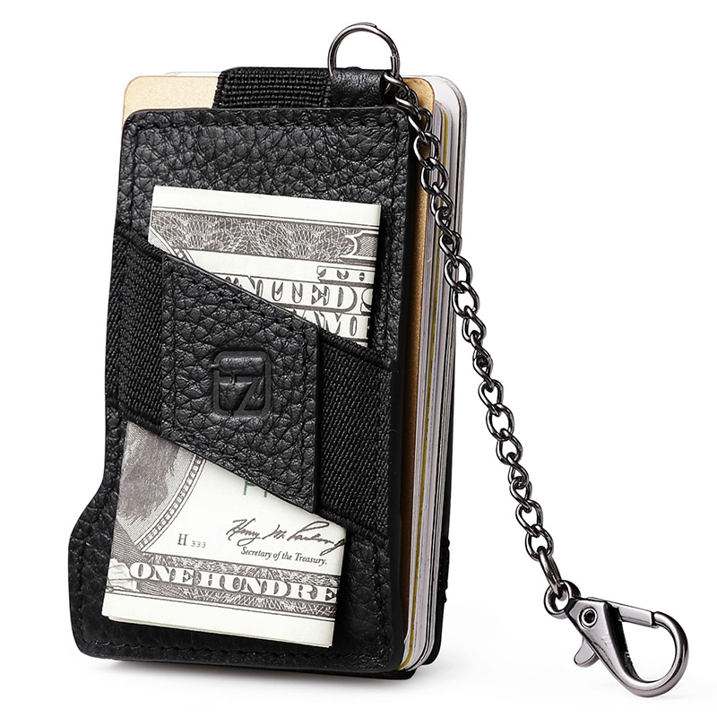 Teemzone RFID Blocking Business Men Top Genuine Leather 8 13 Credit Card ID Holder With Elasticity