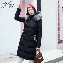 Yehury 2017 Female Winter Coat Cotton Padded Warm Long Sleeve Parka Fur Hooded Outwear Thick Warm Solid Female Coat