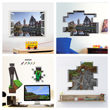 Popular Game Minecraft Themed Wall Stickers For Kids Room Home Decoration Diy 3d Window Broken Hole Wall Mural Art Pvc Decals цена и фото