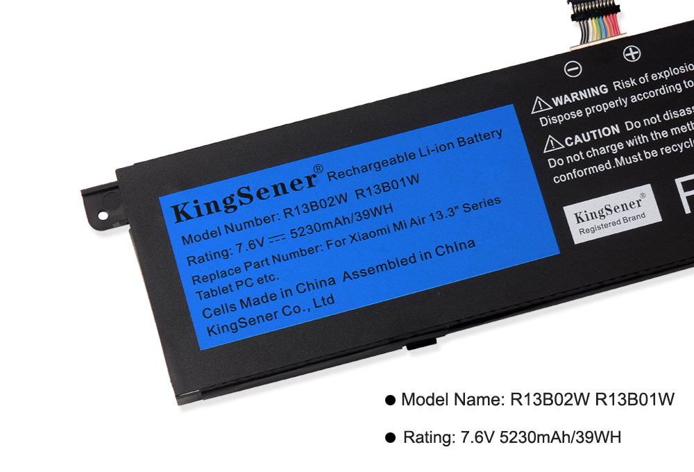 "Image 5 - Kingsener 7.6V 5230mAh New R13B01W R13B02W Laptop Battery For Xiaomi Mi Air 13.3"" Series Tablet PC 39WH-in Laptop Batteries from Computer & Office"