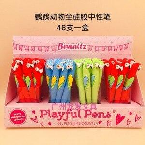 Image 2 - 48 adet/paket sevimli karikatür hayvan papağan silikon jel kalem yaratıcı kırtasiye işareti kalem öğrenciler ödül parti promosyon hediye kalem