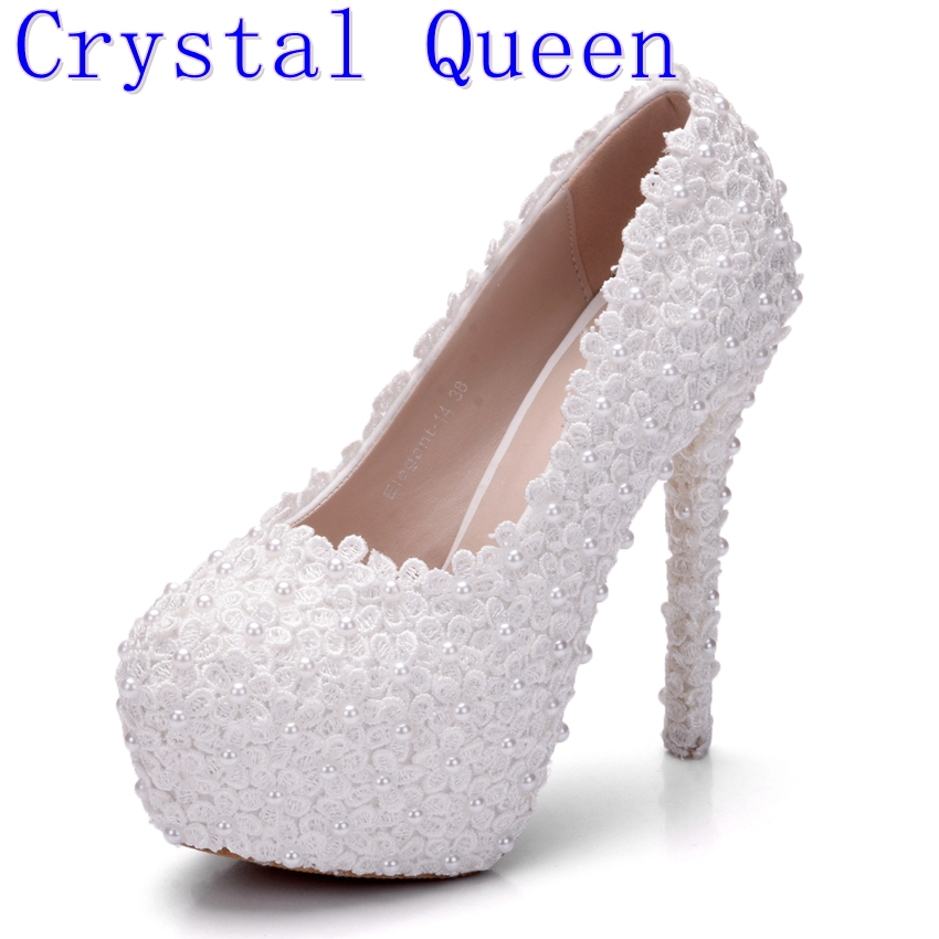 Crystal Queen Women Lace Wedding Shoes Lace Pumps High Heels Round Toe Platform Shoes Party Lady Wedding Heels Thin Heels Pumps цены онлайн