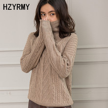 HZYRMY Autumn New Women's Pure Cashmere Sweater Loose High Collar Quality Large size Winter Warm Pullover Thick Female Sweaters цена и фото