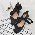 2016 Fashion Sweet Comfortable Round Toe Square Lace up High Heel Ballet Shoes Princess Lolita Bow Pumps Female Leather